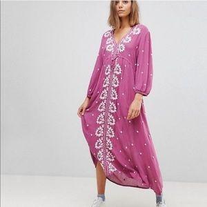 Free People Fable Embroidered Long Sleeve Maxi